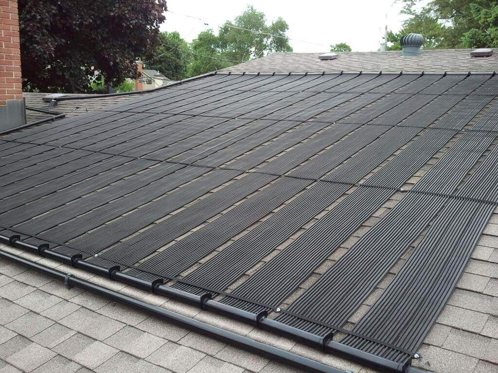 Enersol Solar Pool Heater Residential Roof Installation with 20 feel long panels